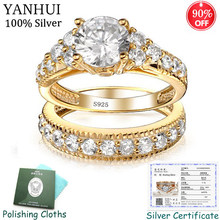With Certificate! Original 925 Solid Silver Ring Set For Women 100% Natural Zirconia 2.0ct Pure Gold Wedding Rings Set for Bride(China)