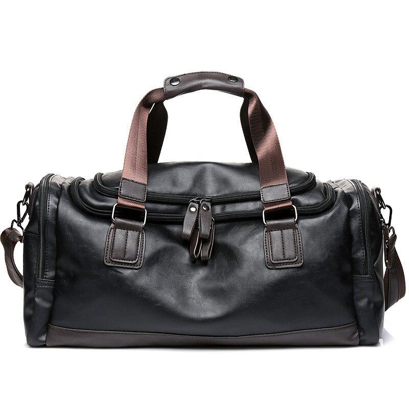 2019 New Men's Bag Fitness Bag Shoulder Messenger Bag Men's Handbag Tide PU Leather Large Capacity Travel Bag