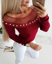 LOOZYKIT  Fashion Womens Casual Off Shoulder Lace T-shirts Ladies Autumn Sexuality Long Sleeve Solid Crop Tops Short T-Shirt Top