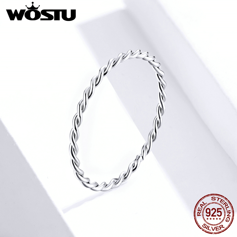 WOSTU Genuine 925 Sterling Silver Minimalist Twist Rings Finger Stackable Simple Ring Korean Style Party Jewelry Gift FIR640