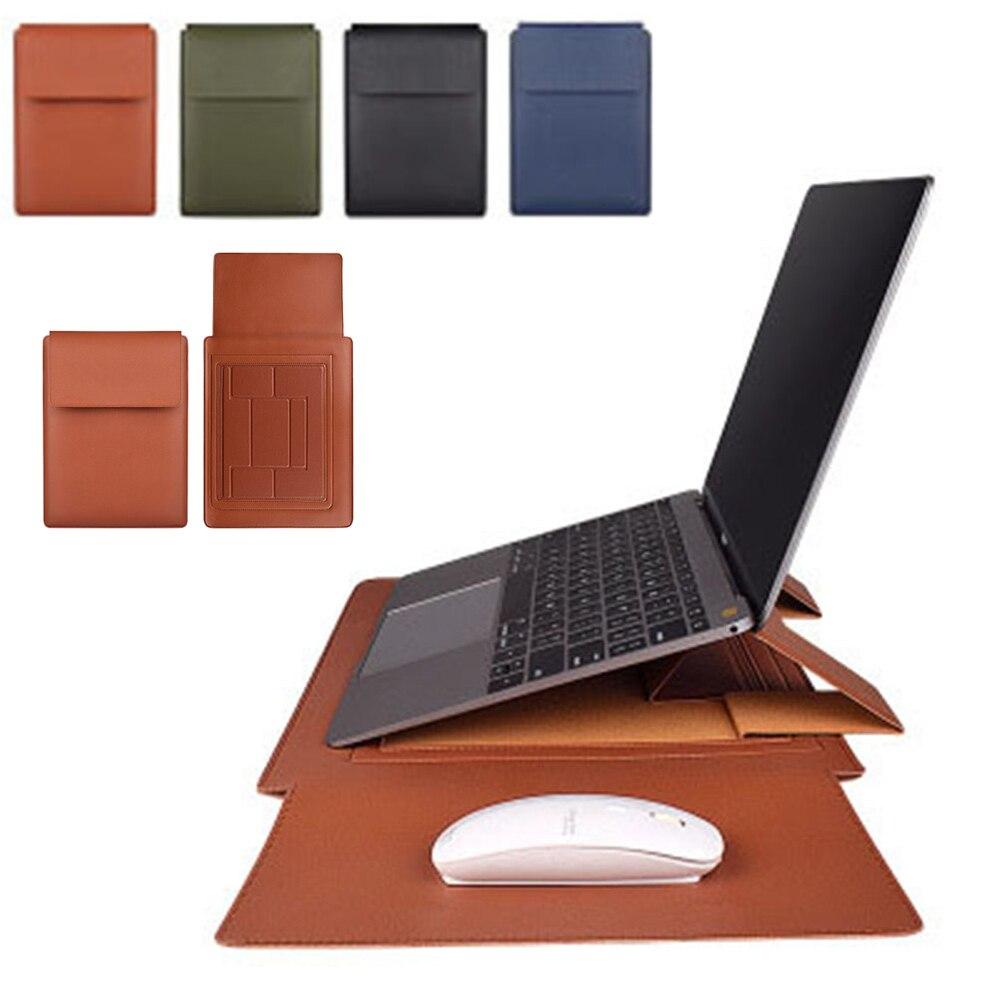 노트북 가방 PU 가죽 슬리브 가방 케이스 Macbook Air Pro 13 15 노트북 가방 Xiaomi HP Dell 13.3 14.1 15.4 인치 노트북 케이스