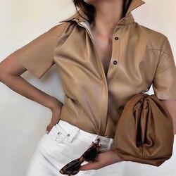 Женские рубашки из искусственной кожи с коротким рукавом, блузки цвета хаки, женские весенние блузки с длинным рукавом, летние модные топы ...
