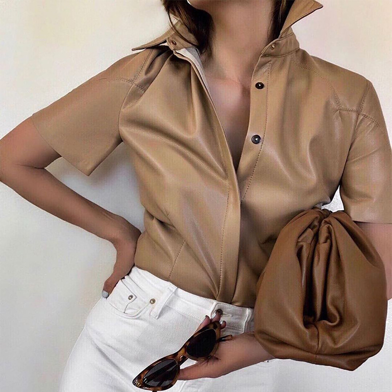PU Leather Shirts Women Short Sleeve Khaki Blouses Female Long Sleeve Spring Blouse Summer Hot Shirt Fashion Tops T141 T061 Blouses & Shirts  - AliExpress
