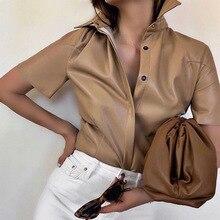 PU Leather Shirts Women Short Sleeve Khaki Blouses