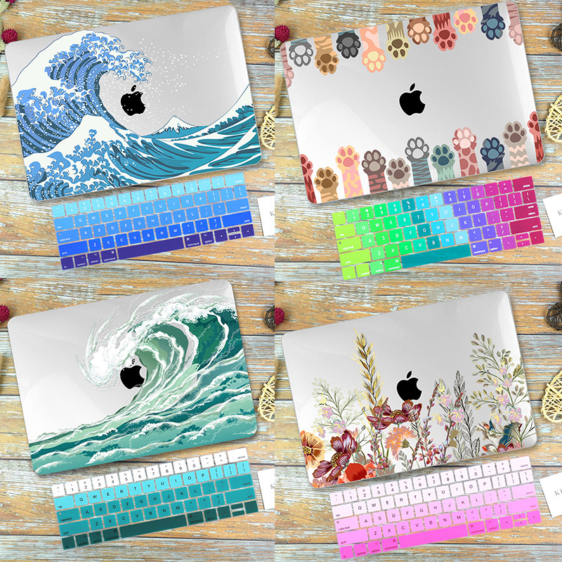 HD Flora Print clear Case for Macbook Pro Air Pro 13 inch 2020 A2338 A2337 A2289 A2251 A2179 2018 cover with keyboard cover