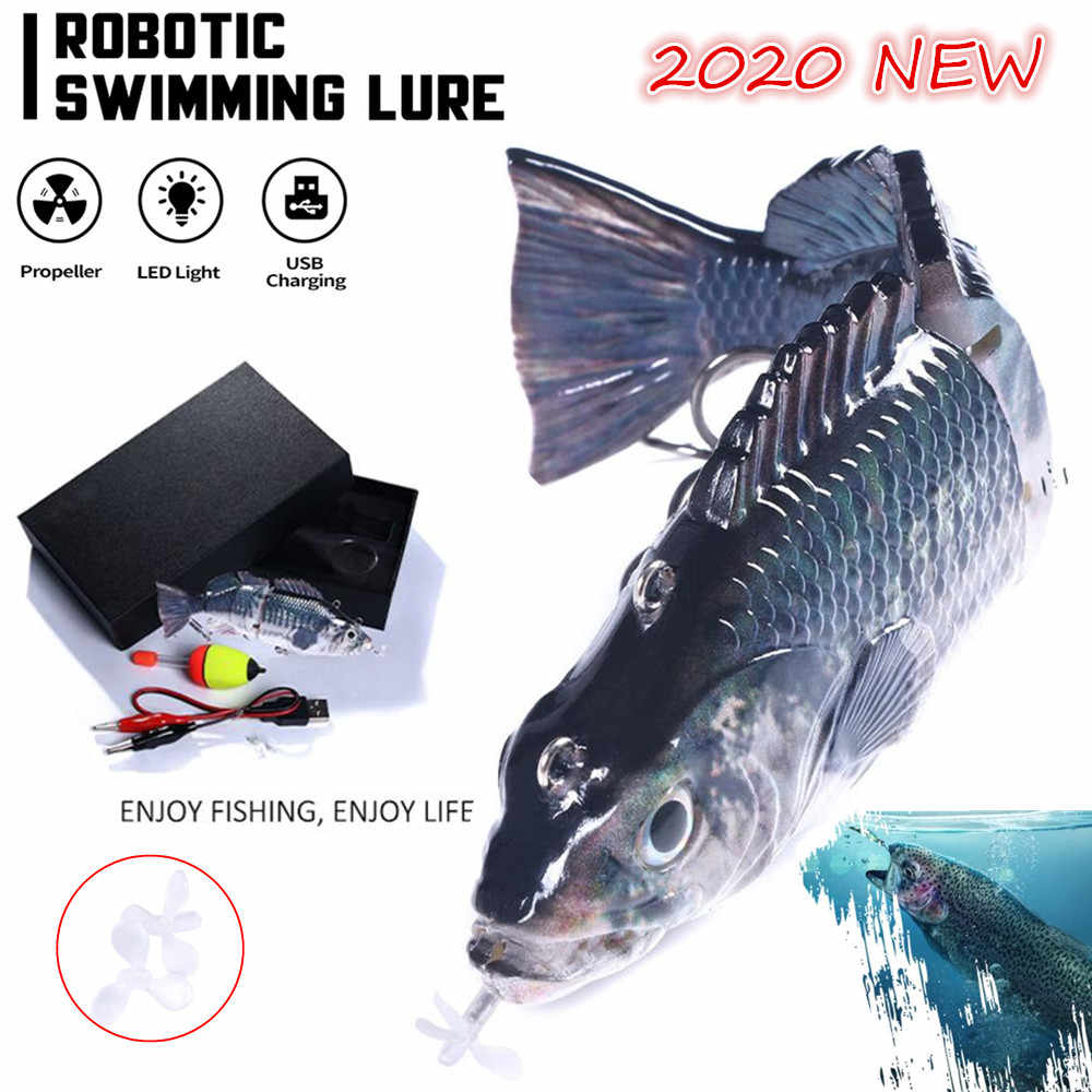 Robotic Swimming Lockt Angeln Auto Elektrische Locken Köder Wobbler Für 4-Segement Swimbait USB Aufladbare Blinkende LED licht