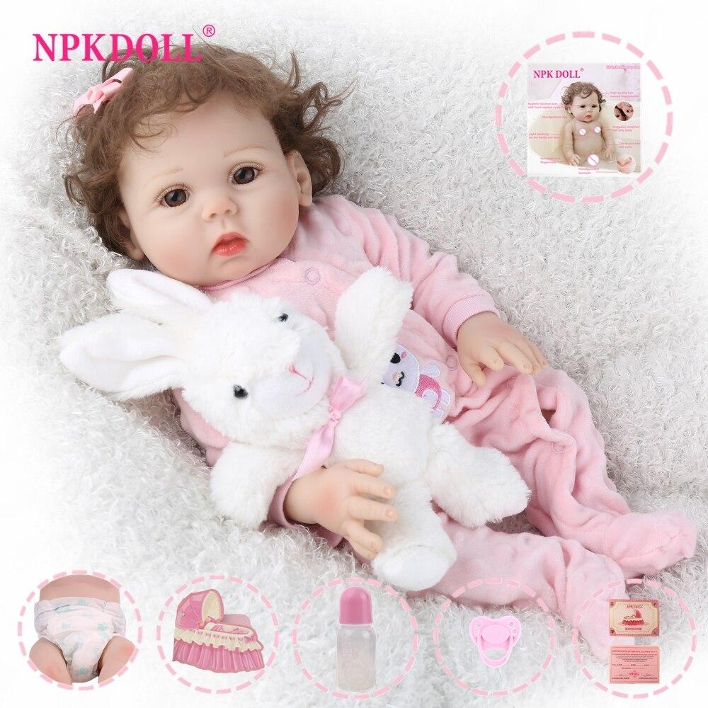 Boneca reborn npkdoll, boneca de 18 polegadas, brinquedo realista de vinil para crianças, boneca educacional para banho infantil