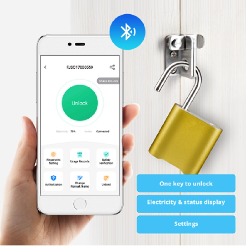 Bluetooth Lock IP65 Waterproof Keyless Fingerprint Unlock Anti Theft USB Padlock Door Lock IOS Android Phone APP ControI image