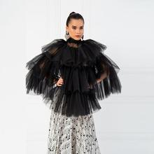 Trendy Cool Black Tiered Ruffle Tulle Tops Women Fashion Sheer See Through Tulle Top Turtleneck Party Blouse Shirts Custom Made