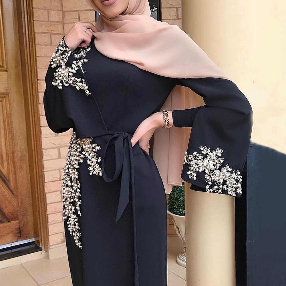 Vintage mujeres de talla grande Abaya Jilbab musulmán Maxi vestido bordado cuentas Beletd alta cintura Kaftan vestido largo islámico S-2XL