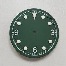 Criativo verde luminoso dial 31mm assista dial para miyota 8215 8200 821a para mingzhu 2813 3804 assista movimento parte