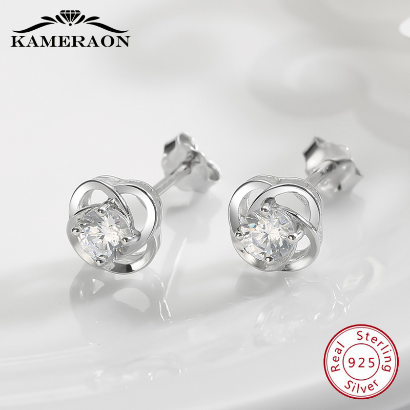 Kameraon 925 Sterling Silve Lotus Small Stud Earrings Women Crystals Catkins With Zircon Stones Earing Party Shine Jewelry