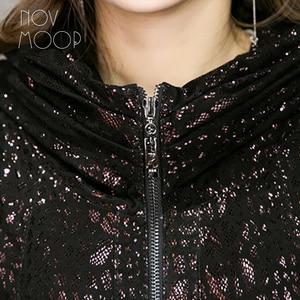 Image 3 - Novmoop Phong Cách Anh Plus Size Nữ Có Mũ Da Cừu Da Thật Chính Hãng Da Áo Choàng Đi Mưa Cao Cấp Áo Khoác Dài Veste Femme LT2844