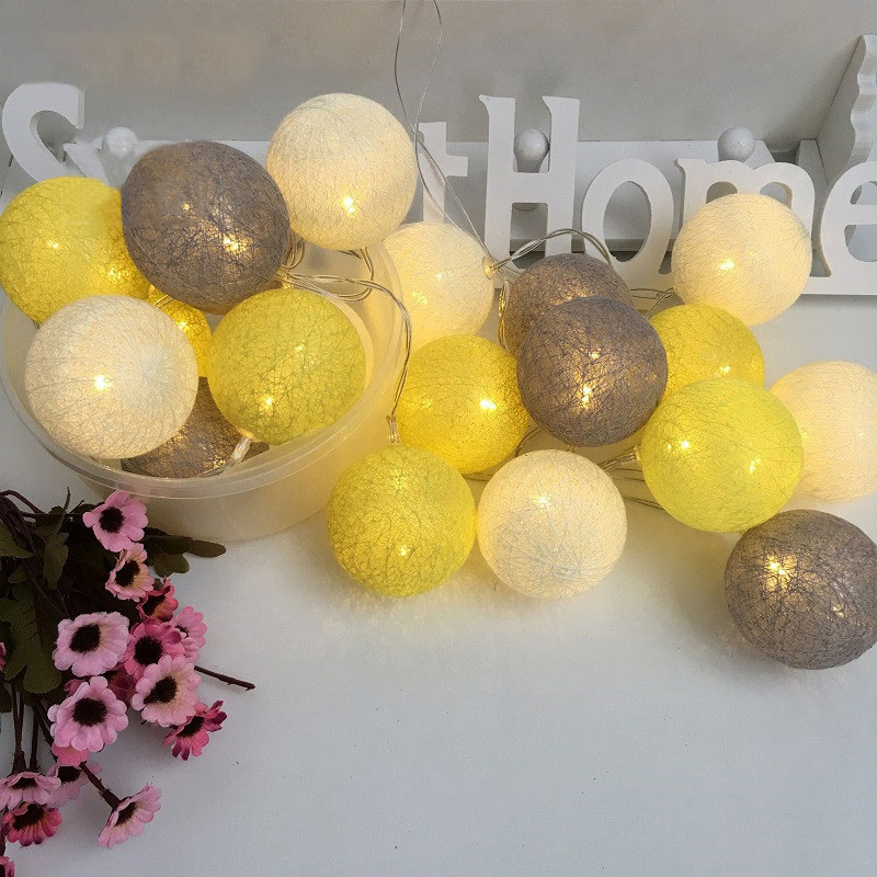 QYJSD LED Garlands Cotton Ball Light String Indoor Christmas 2020 New Year Holiday Wedding Party Baby Bed Fairy Lights Decor
