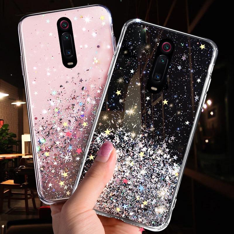Bling Glitter Case For Xiaomi Mi CC9 CC9E 9T 9 SE 8 A3 A2 Lite Case For Xiaomi Redmi K20 7A 6 Note 8 7 5 Pro 4 4X Soft TPU Cover(China)