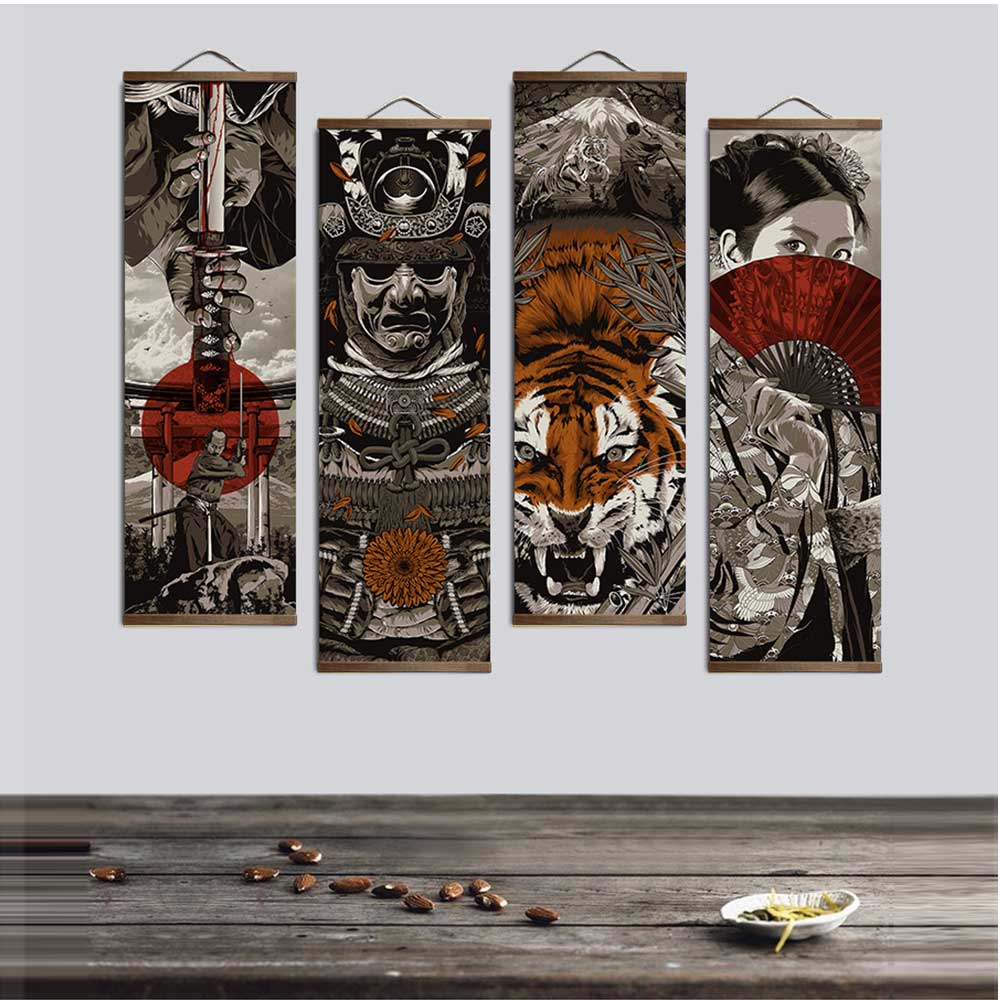 Japanese Ukiyoe Tiger Canvas Poster Wall Pictures for Living Room Home Decor Painting Wall Art with Solid Wood Hanging Scroll