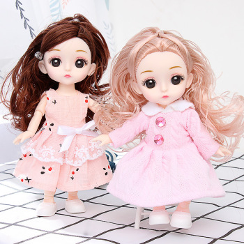 Bjd Dolls 16 Cm 13 Movable Joints 1/12 DIY Girl Dress Up 3D Eyes Mini Doll Toys and Clothes Shoes Kids Fashion Christmas Gifts 35cm 1 6 bjd sd bbgirl doll toys high quality joints dolls diy girl dolls blyther dolls toys birthday gifts for child children
