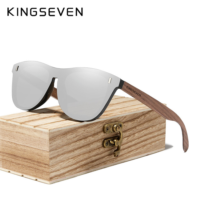 $ US $11.99 KINGSEVEN 2020 Black Walnut Sunglasses Wood Polarized Sunglasses Men UV400 Protection Eyewear Wooden Original Wood Accessories