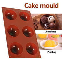 6 Grids Sphere Silicone Mold For Cake Pastry Baking Chocolate Candy Fondant Bakeware Round Shape Dessert Mould DIY Decoration
