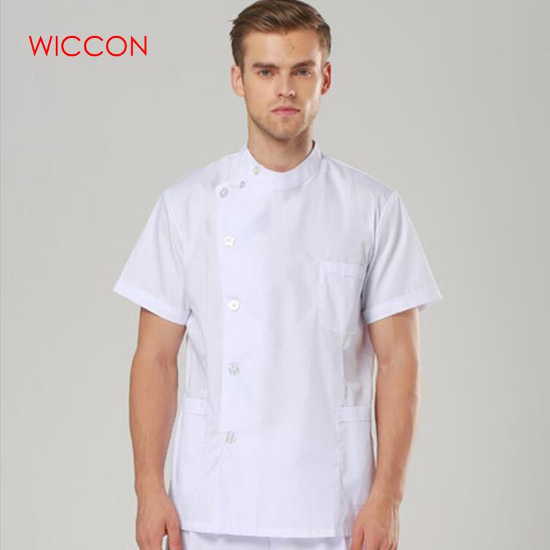 WICCON Hospital & Dental Clinic Male Short Sleeve Surgical Uniform Isolation Gown Scrub Set Nurse Work Wear Medical Suit Set