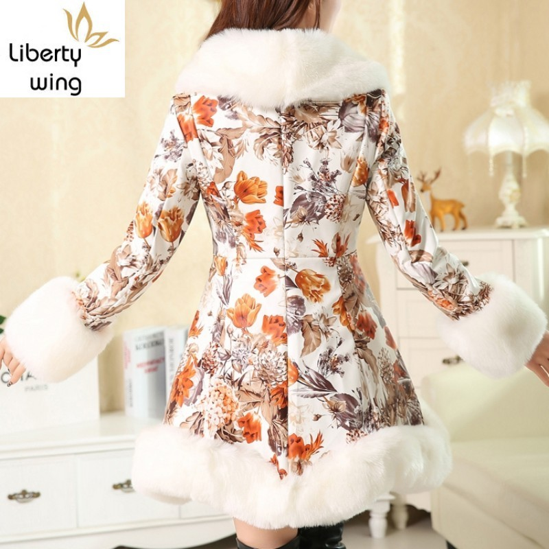 High Quality Winter New Collar Coats Women Fashion Flower Faux Fox Fur Slim Lady Middle Long Printing PU Jacket Parkas