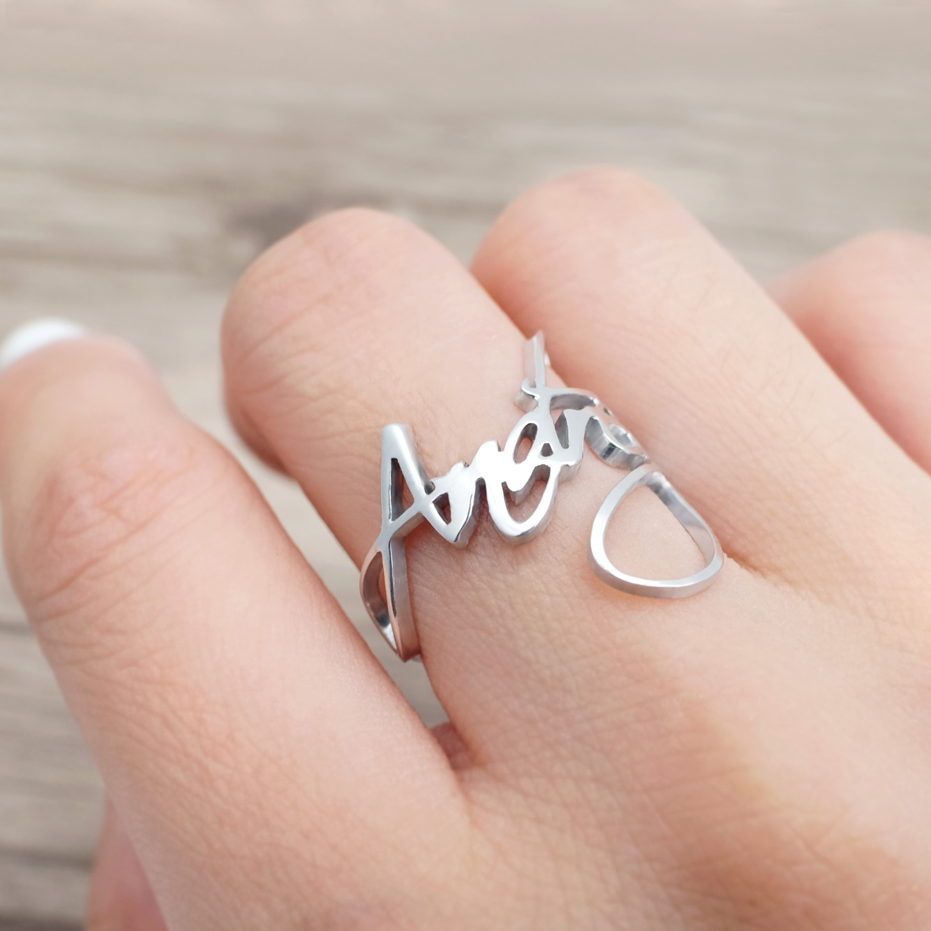 Custom Name Ring Personalized Name Jewelry Custom Word Rings Nameplate Rings For Couple Gift For Women Girl Valentines Gift