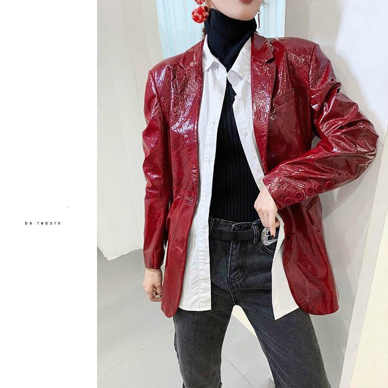 Women's Sheepskin Coat Genuine Leather Women Clothes Blazer Motorcycle Biker Jacket Slim Fit Spring Autumn ZHF535 KJ4106
