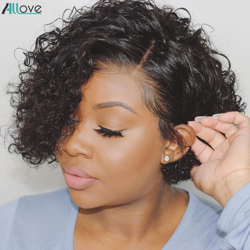Парик Allove Pixie Cut, короткий парик с Бобом, кудрявые человеческие волосы, предварительно отобранные человеческие волосы 180 плотность спереди, п...