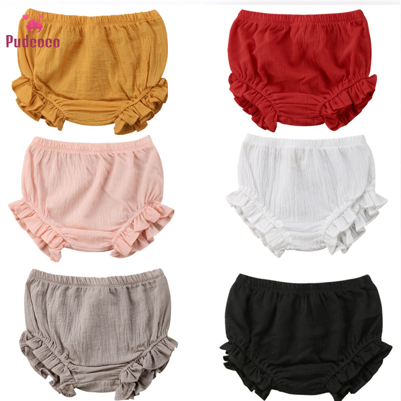 Pudcoco Toddler Infant Baby Boy Girl Kids Ruffles Shorts Bottoms Solid PP Bloomers Cotton Nappy Diaper Covers Cute Panties
