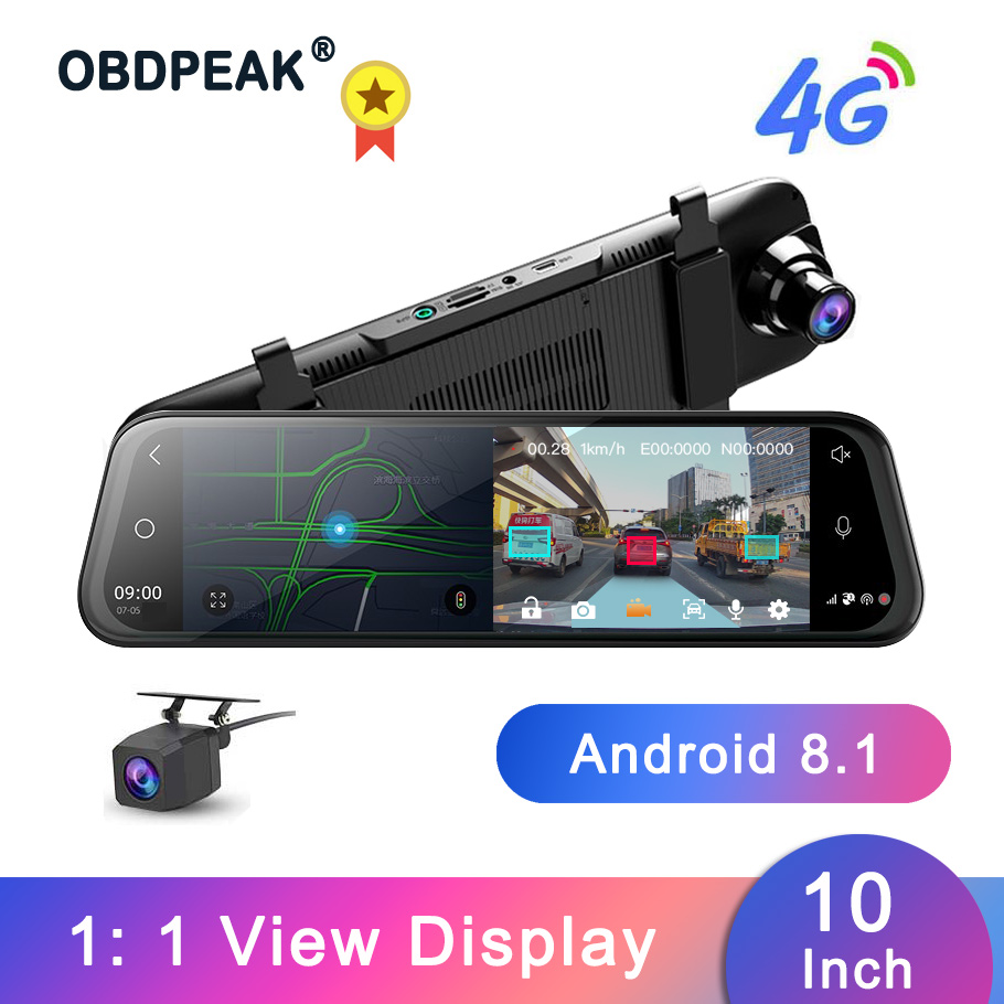 Dash Cam 10 Inch 4G <font><b>Car</b></font> Rearview <font><b>Mirror</b></font> <font><b>Car</b></font> <font><b>DVR</b></font> <font><b>Mirror</b></font> Android FHD Auto <font><b>Recorder</b></font> <font><b>GPS</b></font> Navigation Dash Camera Rear View <font><b>Mirror</b></font> image
