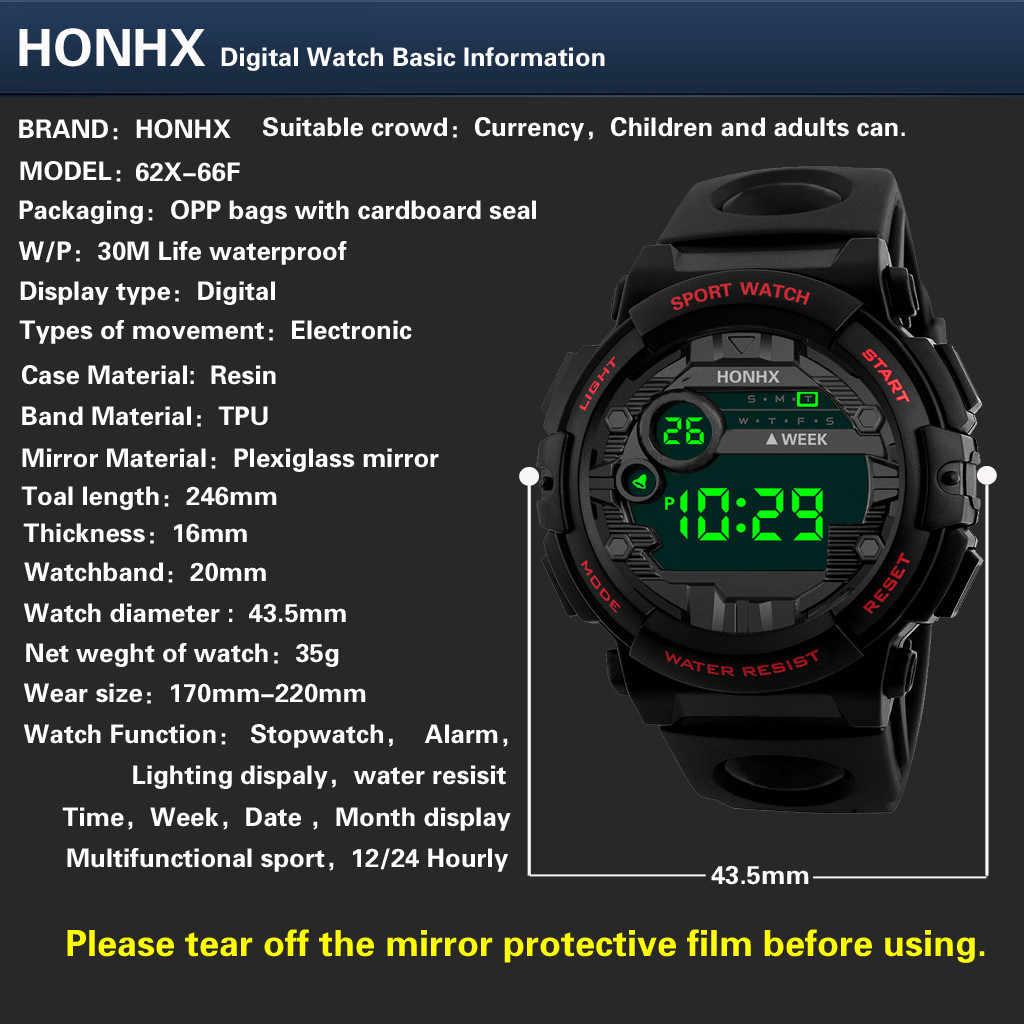 Luxury Men นาฬิกาวันที่ผู้ชายกีฬานาฬิกากลางแจ้งนาฬิกาอิเล็กทรอนิกส์นาฬิกา LED ส่องสว่างหลายฟังก์ชั่นนาฬิกาข้อมือ reloj hombre