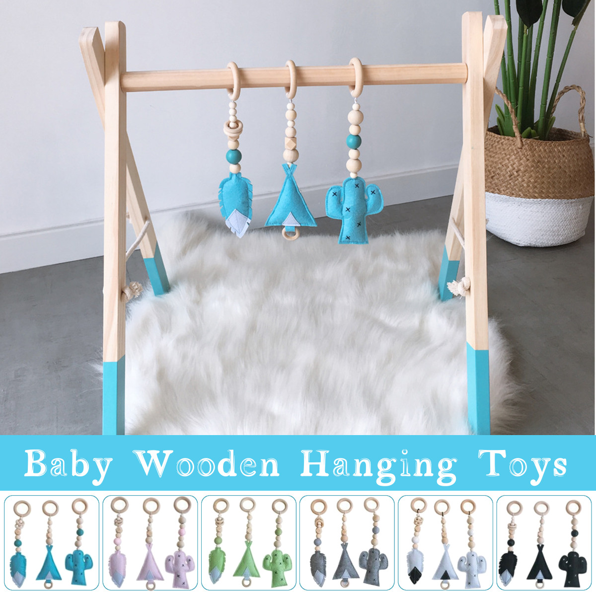 3Pcs Infant Baby Hanging Cartoon Activity Gym Pendant Decoration Toy Newborn Early Educational Carpet Toys Children Ins Style