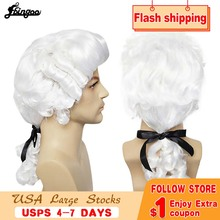 Ebingoo White Lawyer Judge Wig Baroque Curly Male Colonial Deluxe Historical Costume Synthetic Cosplay Wig for Halloween Cosplay