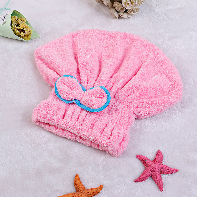 5 Color Colorful Bath Towel Cap With Microfiber Solid Fabric For Ladies 4