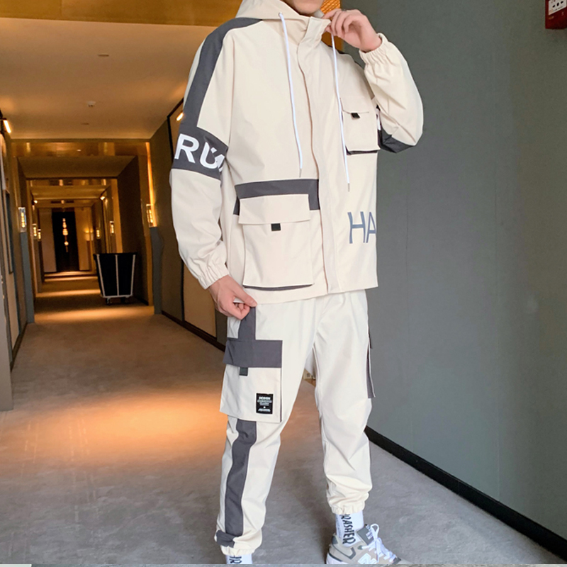 2019 Mens Cargo Pullover Streetwear Hooded Tracksuit 2 Pieces Sets Jackets And Cargo Pants Loose Fit Pants Hip Hop ABZ560