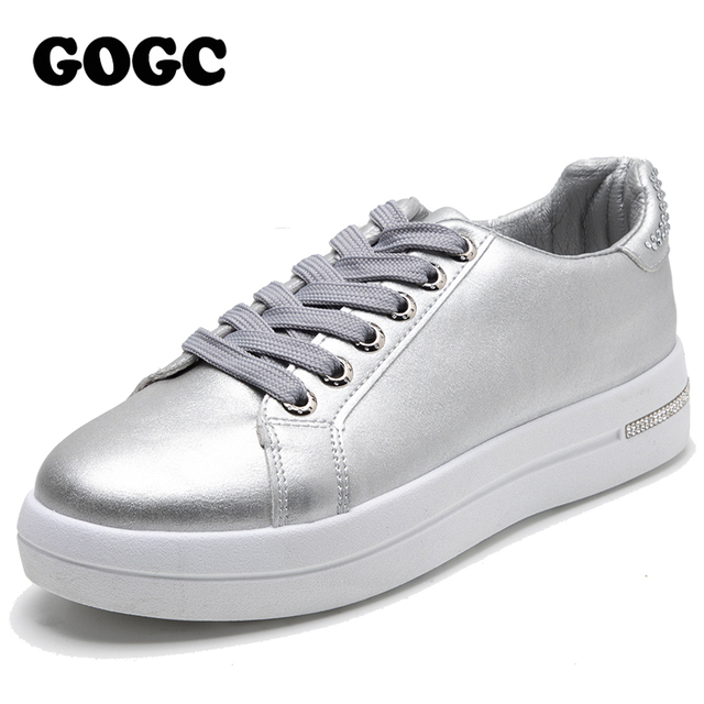 $ US $23.56 GOGC women shoes 2020 slip on sneakers leather shoes women ladies flat shoes womens flats sneakers for women ladies shoes G6819