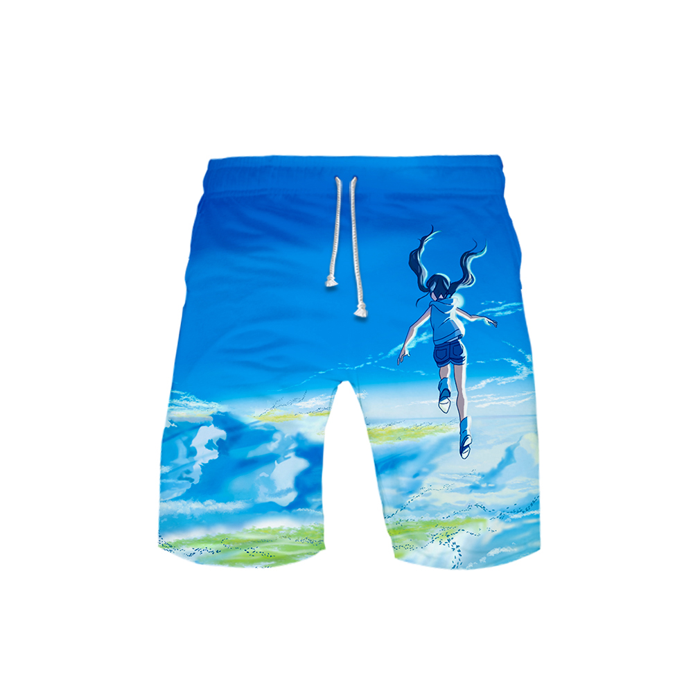 Men's 3D Weathering With You Shorts 3D Board  Trunks 2019 Summer New Quick Dry Weathering With You Men Hip Hop Shorts Beach Wear