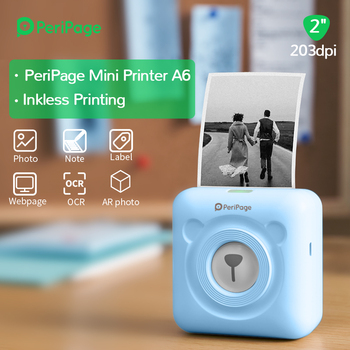 PeriPage Portable Thermal Bluetooth  Inkless Printer 203dpi Blue Picture Photo Invoice Mini Wireless A6