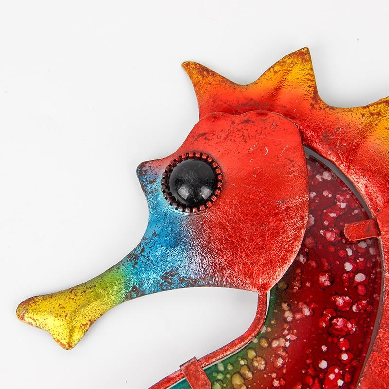 Дом Декор Металл Красный Морской конек для Сад Скульптура Украшение Открытый Миниатюра Статуи и Орнаменты Животные Сад