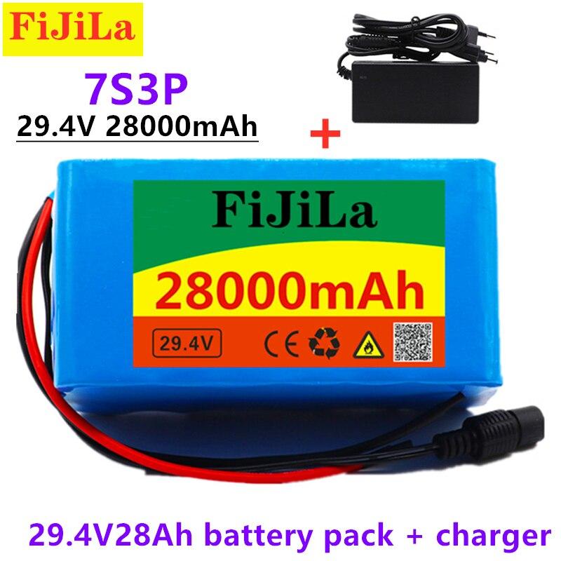 Литиевая батарея 24 в 28 Ач 7S3P 18650 29,4 в 28000 мАч для электрического велосипеда мопеда/электрической/литий-ионной батареи + зарядное устройство