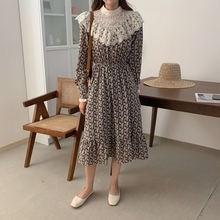 Цельнокроеное осеннее корейское женское платье 2020 элегантное