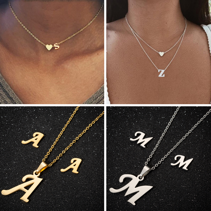 SMJEL A Z Alphabet Necklace Tiny Heart Initial Necklace for Women Girls Kids Personalize Jewelry 26 Letter Collier Pendientes