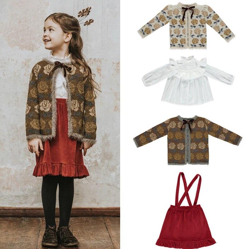 Kids Sweaters 2020 Be O Brand New Autumn Winter Girls Cute Flower Princess Knit Cardigan Baby Child Cotton Wool Wam Clothes 1