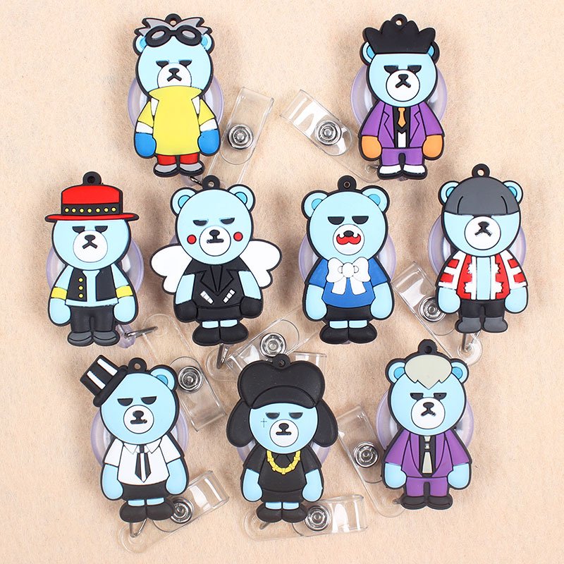 Cute Funny Fashion Blue Bear Retractable Badge Card Holder Reel Nurse Exhibition Enfermera For Boys Gift Glasses Name Card Chest