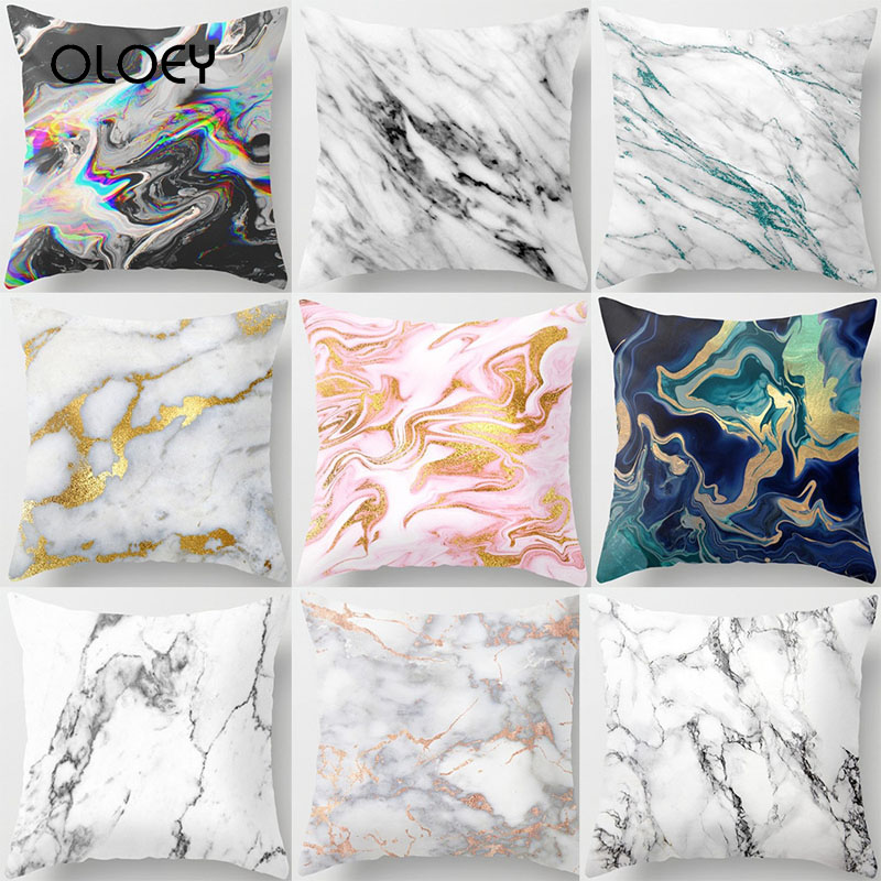 Litchi Nordic Style Marble Pattern Pillowcase Polyester Peach Skin 45x45cm Decorative Pillowcase For Bedroom Throw Pillow    ...