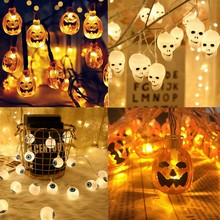 Halloween Decorations Skull Pumpkin LED Light Eyes String Lights Garland Wram White for Home Ornaments Halloween Party Supplies