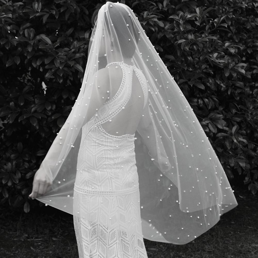 Short Wedding Veil With Pearls Elegant 120CM One Layer Pearl Bridal Veil Metal Comb Bride Veil Wedding Veu De Noiva
