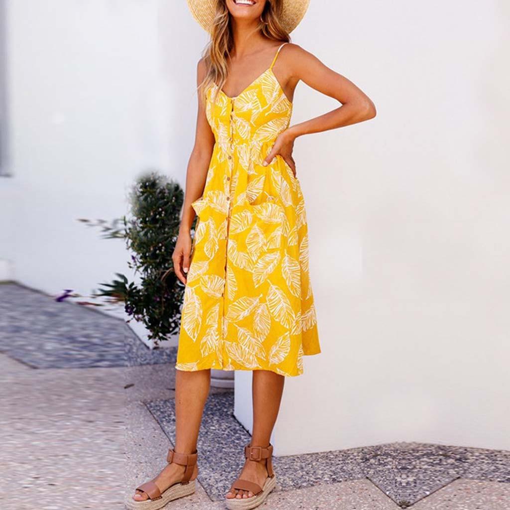 Vintage Casual Sundress Female Beach Dress Midi Button Backless Polka Dot Striped Women Dress Summer