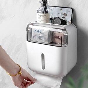 Image 1 - Soporte para papel higiénico, bandeja de papel higiénico de montaje en pared, caja de pañuelos impermeable, Rollo de tubo de papel, caja de almacenamiento para baño, Organizador