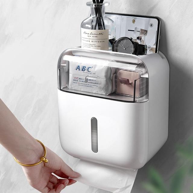 Soporte para papel higiénico, bandeja de papel higiénico de montaje en pared, caja de pañuelos impermeable, Rollo de tubo de papel, caja de almacenamiento para baño, Organizador